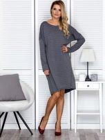 Sukienka damska dresowa o luźnym kroju ciemnoszara                                  zdj.                                  4
