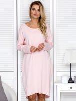 Sukienka damska dresowa o luźnym kroju różowa                                  zdj.                                  1