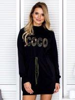 Sukienka damska dresowa z napisem COCO czarna                                  zdj.                                  1