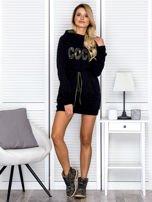 Sukienka damska dresowa z napisem COCO czarna                                  zdj.                                  4