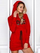 Sukienka damska dresowa z napisem COCO czerwona                                  zdj.                                  6