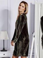 Sukienka damska welurowa z kieszeniami ciemnozielona                                  zdj.                                  3