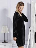 Sukienka damska welurowa z kieszeniami czarna                                  zdj.                                  3