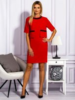 Sukienka damska z kieszeniami czerwona                                  zdj.                                  4