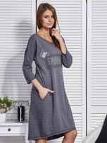 Sukienka damska z napisem z dżetów ciemnoszara                                  zdj.                                  5