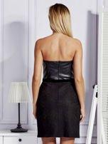 Sukienka damska ze skórzanym modułem i koronką czarna                                  zdj.                                  2