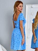 Sukienka dzienna z nadrukiem w kwiatki niebieska                                  zdj.                                  2
