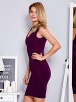Sukienka fioletowa dopasowana z trójkątnym dekoltem                                  zdj.                                  5