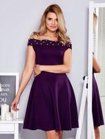 Sukienka fioletowa z perełkami                                  zdj.                                  1
