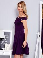 Sukienka fioletowa z perełkami                                  zdj.                                  5