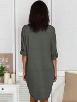 Sukienka khaki o kroju oversize ze sznurowaniem                                  zdj.                                  2