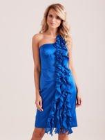 Sukienka koktajlowa na jedno ramię kobaltowa                                  zdj.                                  1