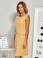 Sukienka koktajlowa z baskinką żółta                                  zdj.                                  5