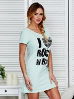 Sukienka miętowa bawełniana I LOVE ROCK N ROLL                                  zdj.                                  3