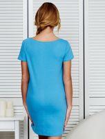Sukienka niebieska bawełniana z miłosnym nadrukiem                                  zdj.                                  2