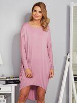 Sukienka oversize z dłuższym tyłem liliowa                                  zdj.                                  1