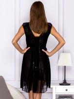 Sukienka w kratkę ze skórzanymi wstawkami czarna                                  zdj.                                  2