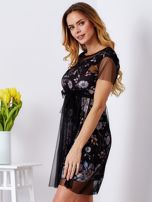 Sukienka warstwowa z kwiatowym motywem czarna                                  zdj.                                  3