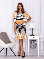 Sukienka z symetrycznym wzorem pomarańczowa                                  zdj.                                  4
