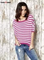 Sweter z dłuższym tyłem w biało-różowe paski Funk n Soul                                  zdj.                                  1