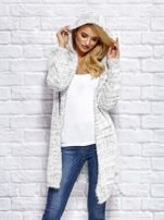 Sweter z melanżowym wzorem biało-ciemnoszary                                  zdj.                                  5