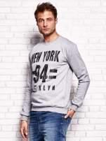 Szara bluza męska z napisem NEW YORK                                  zdj.                                  3