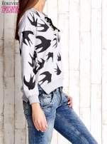 Szara bluza w jaskółki z wiązaniem                                                                          zdj.                                                                         3
