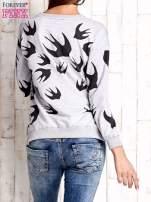 Szara bluza w jaskółki z wiązaniem                                  zdj.                                  4