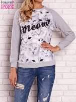 Szara bluza z nadrukiem kotów i napisem