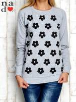 Szara bluza z nadrukiem kwiatów                                  zdj.                                  1