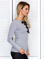 Szara bluzka damska ze sznurowanym dekoltem                                   zdj.                                  3