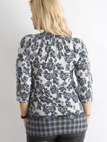 Szara bluzka z nadrukiem w kwiaty PLUS SIZE                                  zdj.                                  2