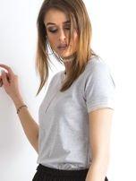 Szara bluzka ze ściągaczami w paski                                  zdj.                                  3