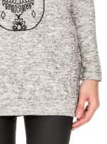 Szara długa bluza z nadrukiem czaszki                                  zdj.                                  6