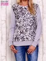 Szara-ecru bluza z nadrukiem liter