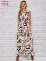 Szara sukienka maxi z motywem leopard print                                                                          zdj.                                                                         2