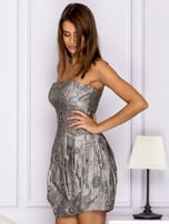 Szara sukienka w ornamentowy wzór                                   zdj.                                  5