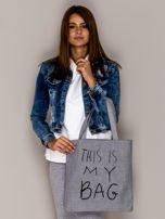 Szara torba materiałowa THIS IS MY BAG                                  zdj.                                  3