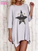Szara tunika dresowa z printem gwiazdy