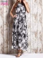Szara wzorzysta sukienka maxi z dżetami                                   zdj.                                  1