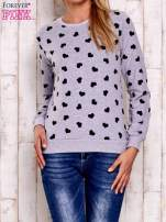 Szaro-czarna bluza z nadrukiem serduszek                                  zdj.                                  2