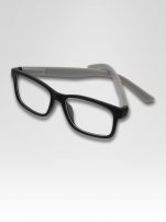 Szaro-czarne okulary zerówki kujonki typu WAYFARER NERDY matowe                                  zdj.                                  1