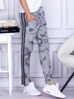 Szaro-różowe militarne spodnie dresowe z błyszczącym lampasem                                  zdj.                                  5