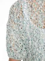 Szarozielony dziergany sweter typu kardigan z krótkim rękawem                                  zdj.                                  7