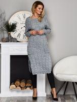 Szary długi sweter z rozcięciem                                   zdj.                                  5