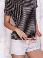 Szary melanżowy t-shirt w paski z troczkami