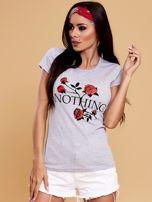 Szary t-shirt damski NOTHING                                  zdj.                                  1