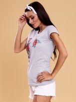 Szary t-shirt damski w kwiaty                                  zdj.                                  3
