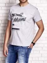 Szary t-shirt męski z nadrukiem napisów MIAMI FLORIDA 1955                                  zdj.                                  4