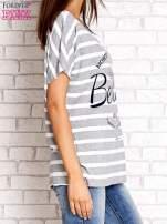 Szary t-shirt w białe paski z napisem NORTH CHAPEL STREET                                                                          zdj.                                                                         3
